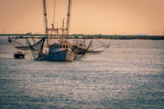 Shrimp boat off Grand Isle, Louisiana.