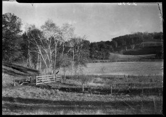 Landscape view at Whitewater Park. Notice the fields on the hillside. Image courtesy of the Minnesota Historical Society.