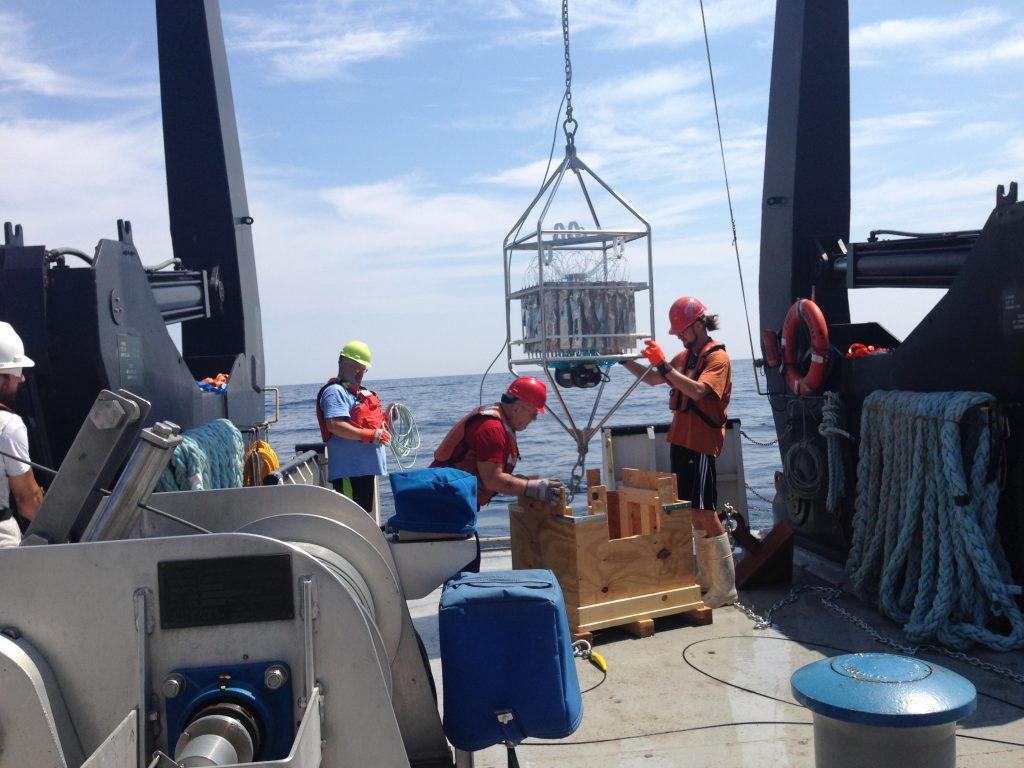Deploying one of the buoy systems with remote sampling devices to collect year-round data on the Great Lakes.