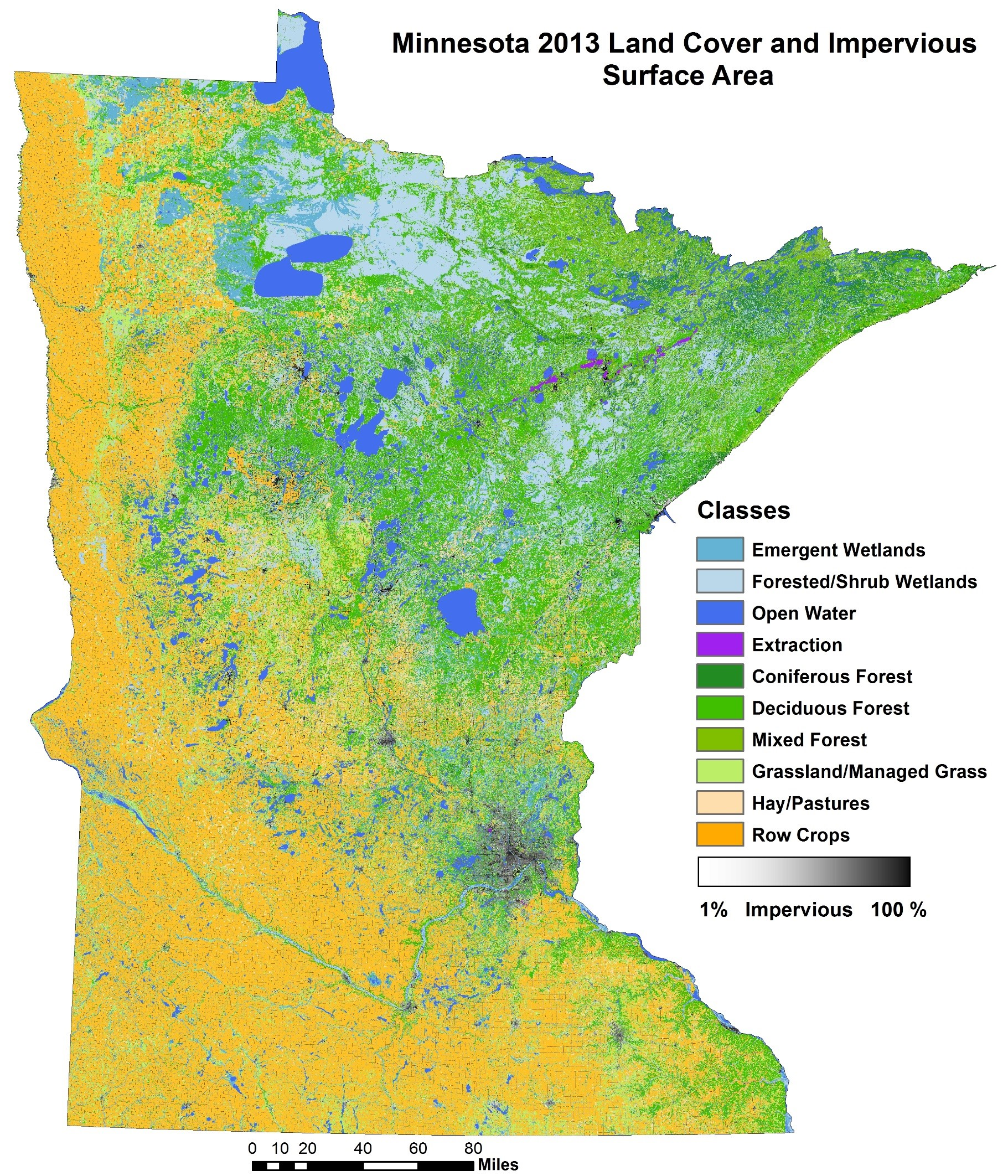 A map titled 'Minnesota 2013 Land Cover and Impervious Surface Area.' Towards the South and West, most of the land seems to be row crops and pastures, but the North and East sides of the state tend to be dominated by coniferous forests.