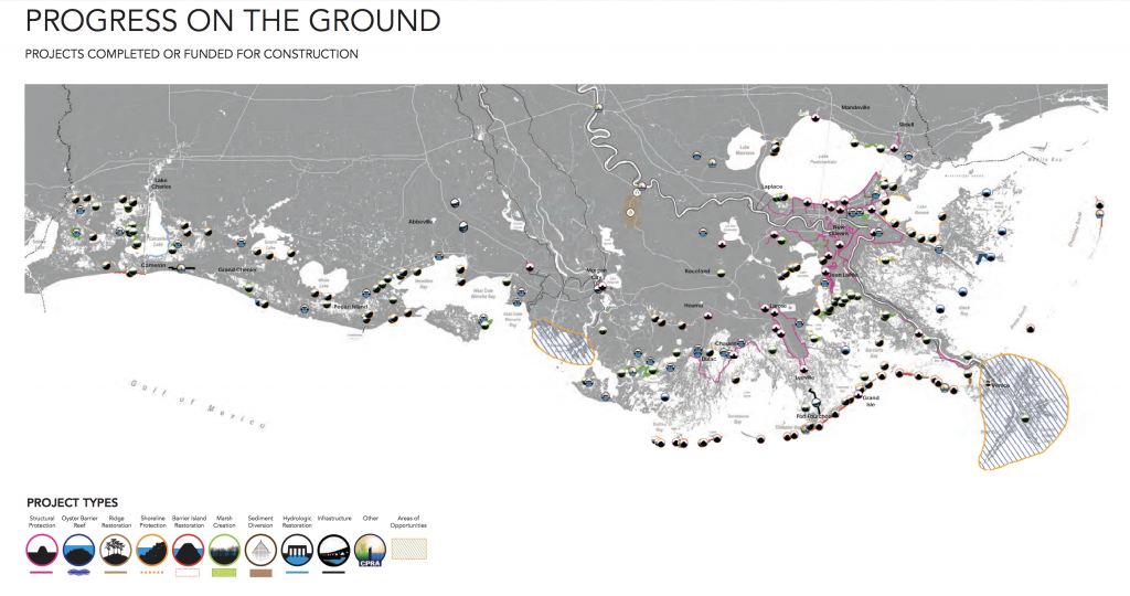 Figure 1. Projects completed or funded for construction as of the publishing of the 2017 Coastal Master Plan.