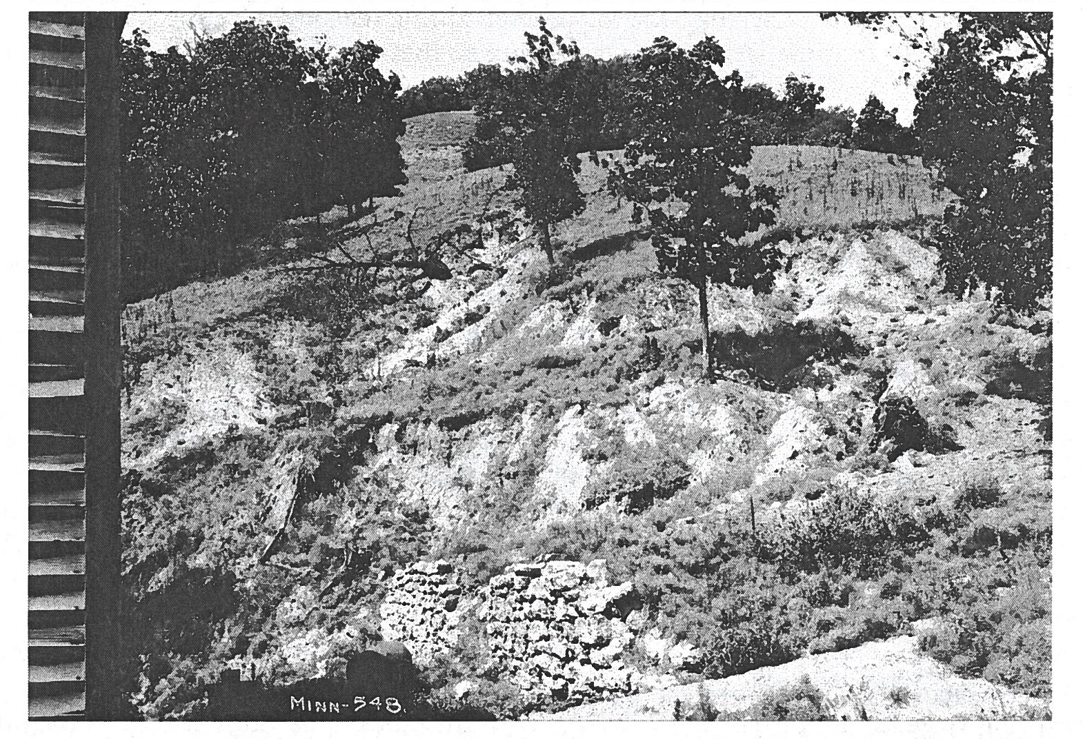 Erosion was so severe this stone wall was partially buried. Image courtesy of Stanley W. Trimble.