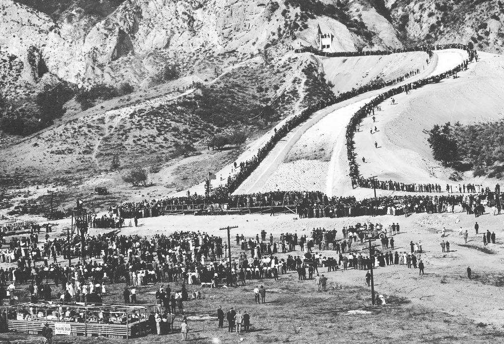 The opening of the Los Angeles Aqueduct. On November 5, 1913, thirty thousand Angelenos gathered to celebrate the opening of the Los Angeles Aqueduct. As the first cascade of water sluiced down the Newhall Spillway (pictured above) and into the San Fernando Valley, William Mulholland roared to the crowd: 'There it is – take it!'