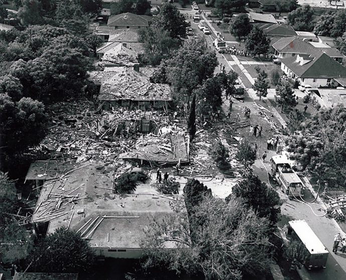 An explosion in the early hours of Sept. 1, 1975 ripped apart this Metairie residence in the Bissonet Plaza area. One house is completely destroyed, and a fire truck is pulled up next to it.