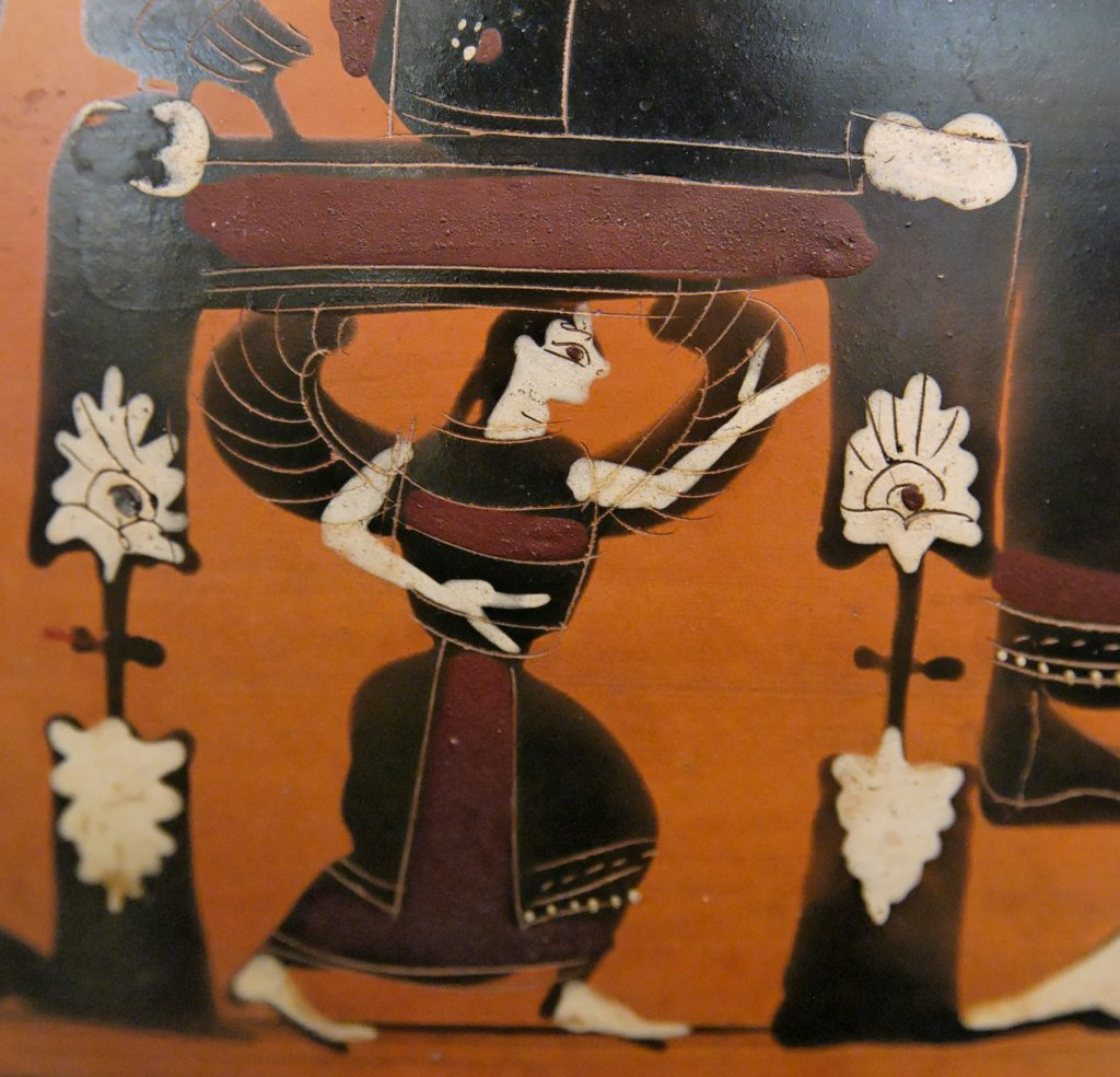 Winged goddess thought to be Metis, in a scene depicting the birth of Athena. Detail on black-figure amphora from 550-525 BC in the collection of the Louvre.