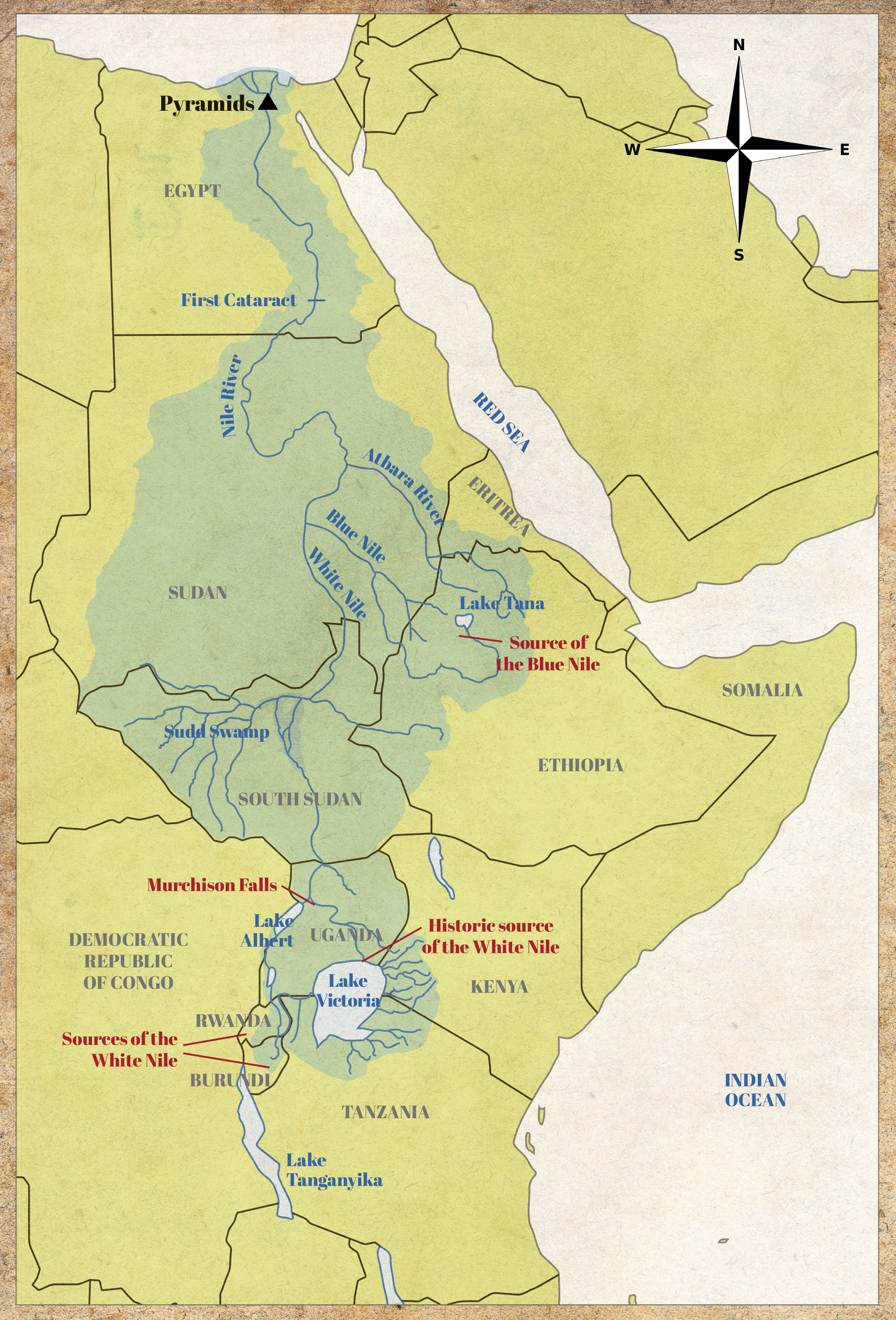 Map of the religious Nile. From North to South, different features are listed: Source of Blue Nile, Murchison Falls, Historic source of the White Nile, and the Sources of the White Nile.