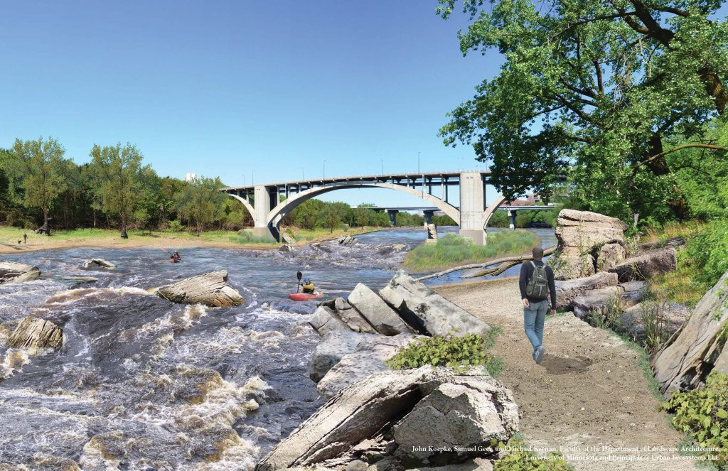 Rendering of what restored rapids in the river may look like, showing the river at the Franklin Avenue Bridge. Image courtesy of American Rivers.
