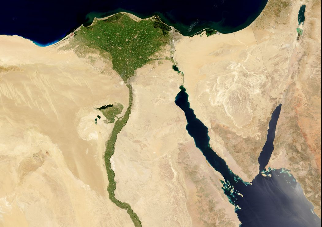 The Nile River, July 19 2004. To the right of the Nile is the Red Sea, with the finger of the Gulf of Suez on the left, and the Gulf of Aqaba on the right. In the upper right corner of the image are Israel and Palestine, left, and Jordan, right. Below Jordan is the northwestern corner of Saudi Arabia.