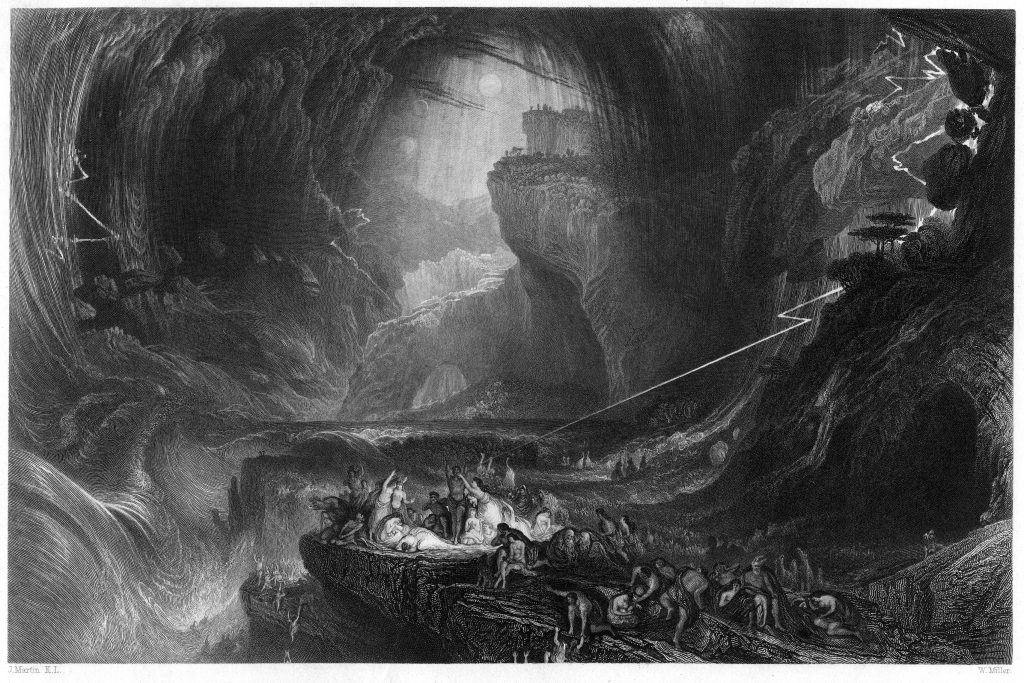 The Deluge engraving by William Miller after John Martin which takes inspiration from the story of the flood in the first book of the Bible, in which God punished man's wickedness by destroying nearly every living thing on earth.