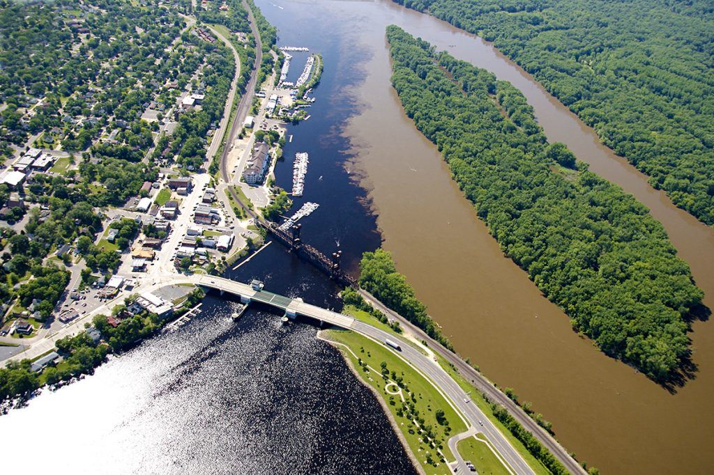 The mixing of the clear and turbid, rural and urban at the confluence of the St. Croix and Mississippi Rivers.