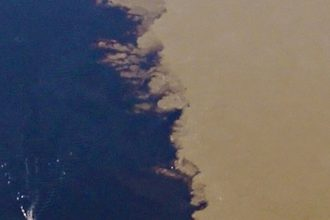 The mixing of the clear and turbid, rural and urban at the confluence of the St. Croix and Mississippi Rivers (detail).
