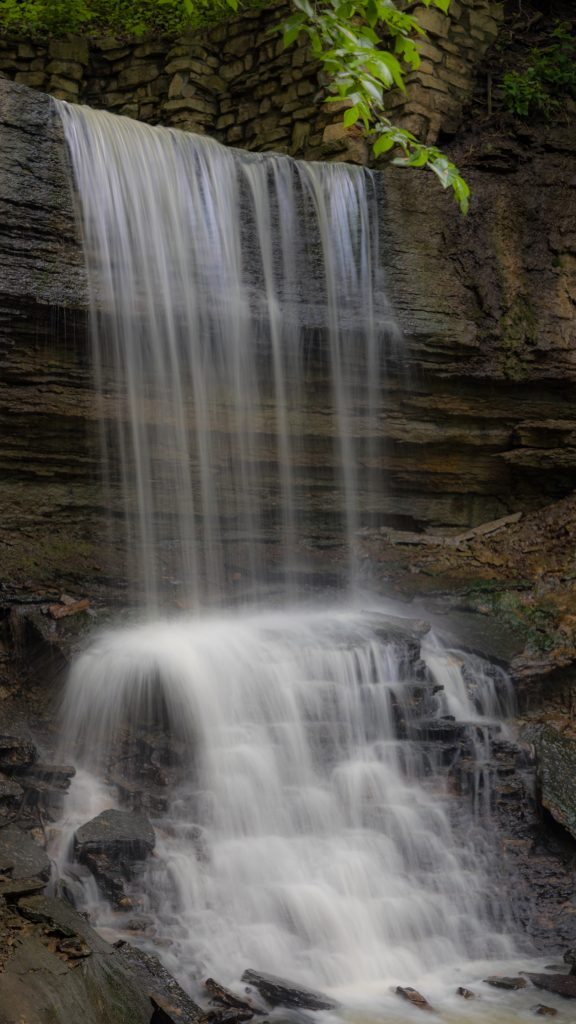 A shot of hidden falls. The water seems to be wispy, and moving very fast.