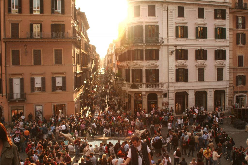 Piazza di Spagna and Fontana della Barcaccia in Rome. The fountains in Rome are not only artwork, but were also built as critical urban infrastructure in response to economic and population pressures of their time.