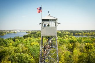 View of the Mississippi River and the city of Grand Rapids from the Fire Tower at the Forest History Center. Photo courtesy of Minnesota Historical Society, Tumblr.