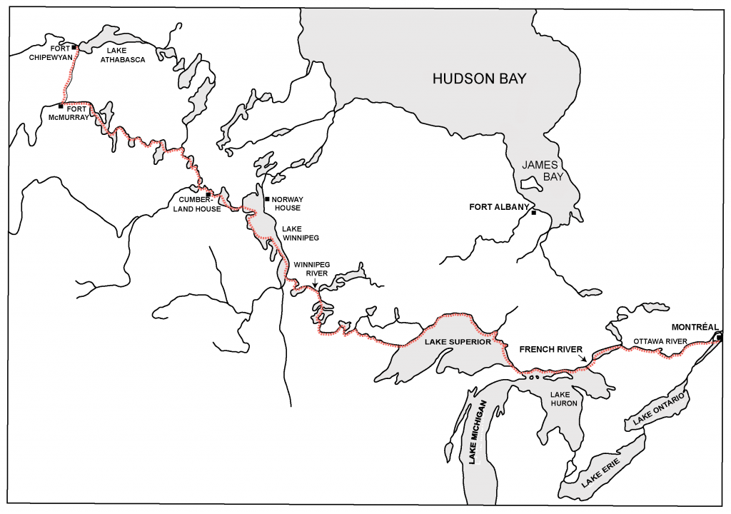 Figure 5. Map showing the location of the French and Winnipeg Rivers. Fort Chipewyan on Lake Athabasca connects all the way through the Great Lakes to Montreal.