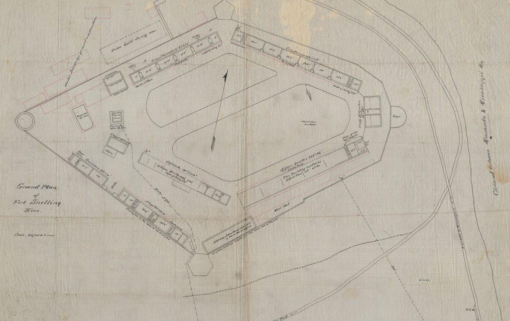 Detail of a plan view of Fort Snelling, 1873.