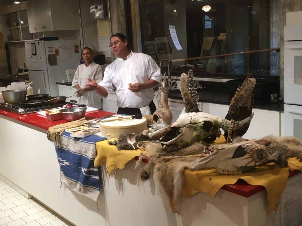 Native Foods Cooking Demo with Chef Austin Bartold in the Baking Lab at Mill City Museum. Photo courtesy of Minnesota Historical Society.