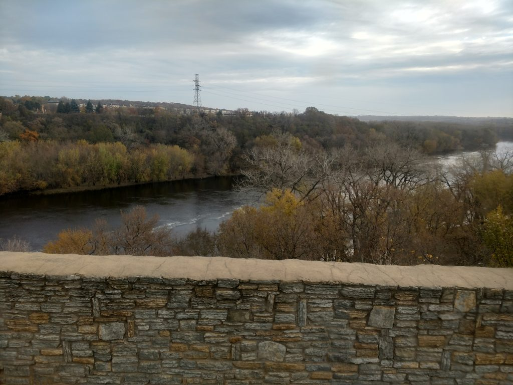 The gorge of the Mississippi River, viewed from Fort Snelling. Photographer Tom Lalim, courtesy of Minnesota Historical Society.