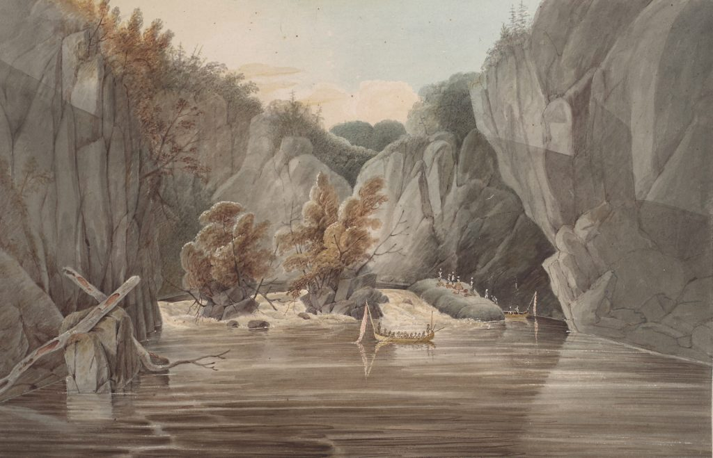 Figure 7. Fall of the Grand Recollet, French River, Ontario, by John Elliot Woolford, 1821.
