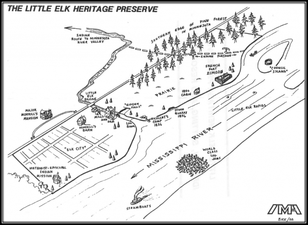 Figure 1. The Little Elk Heritage Preserve as Drawn by Douglas A. Birk. The map shows the direction the Mississippi river is flowing, and a exaggerated 'Elk City' is shown with Major Morrill's Mansion.