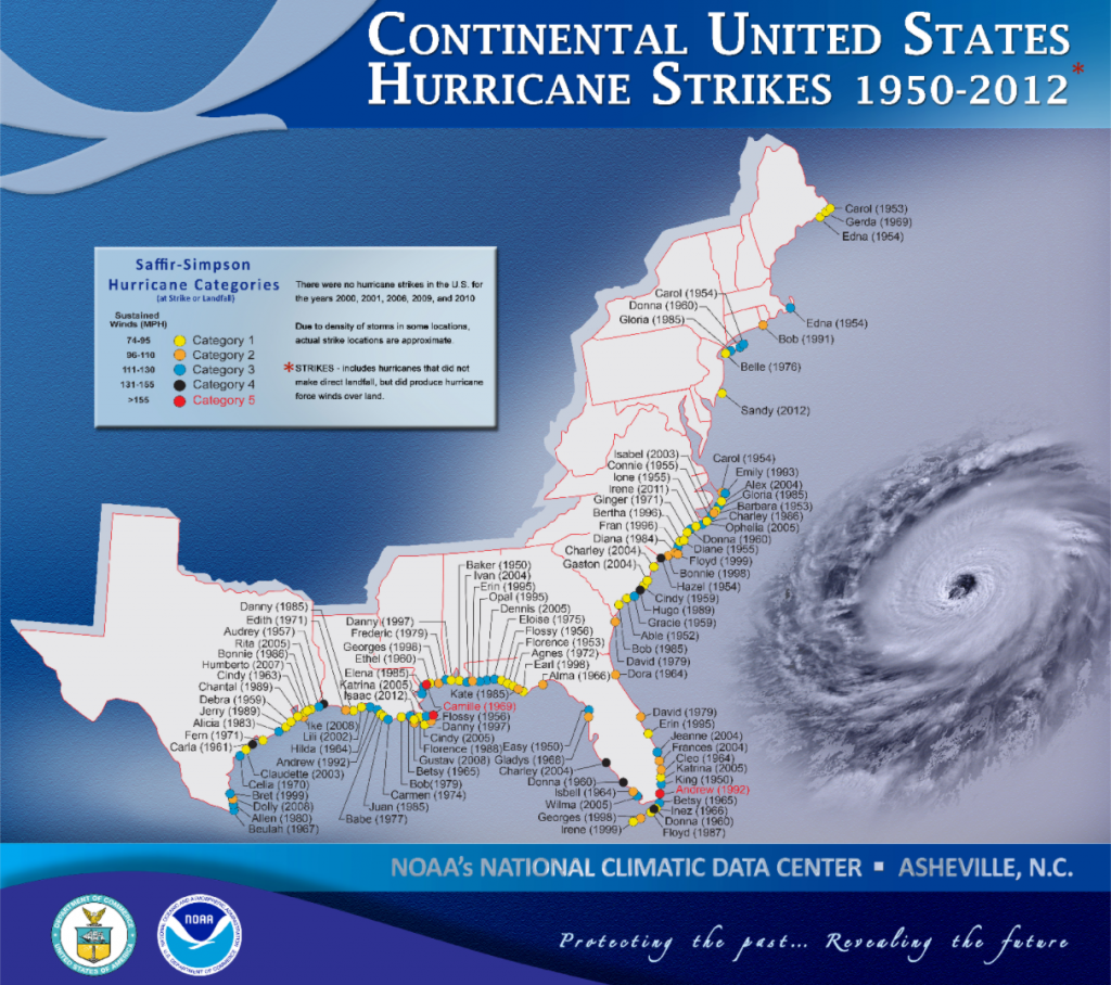 A map shows all of the hurricanes that have affected the Atlantic coast of the United States. Countless hurricanes appear on the map.