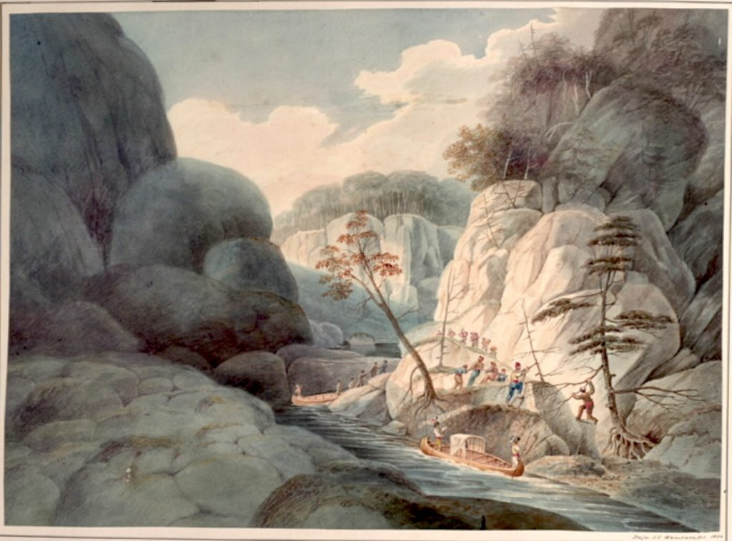 Figure 6. Rapid of La Dalle, French River, Ontario, by John Elliot Woolford, 1821.
