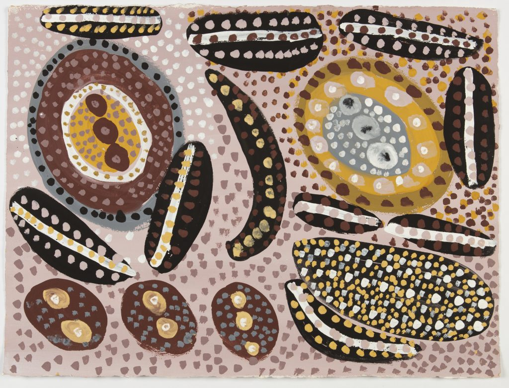 Mrs Taylor, Aru, ochre pigments on paper, 2018. Courtesy the artist's family and Kira Koro Art Centre.