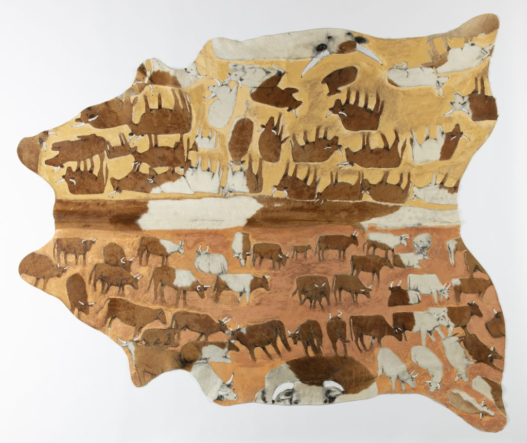 Mervyn Street, Droving cattle in the summertime, 2018 (detail) shaved and etched cow hide 195.5 x 217.5 cm. Courtesy Mangkaja Arts Resource Agency.
