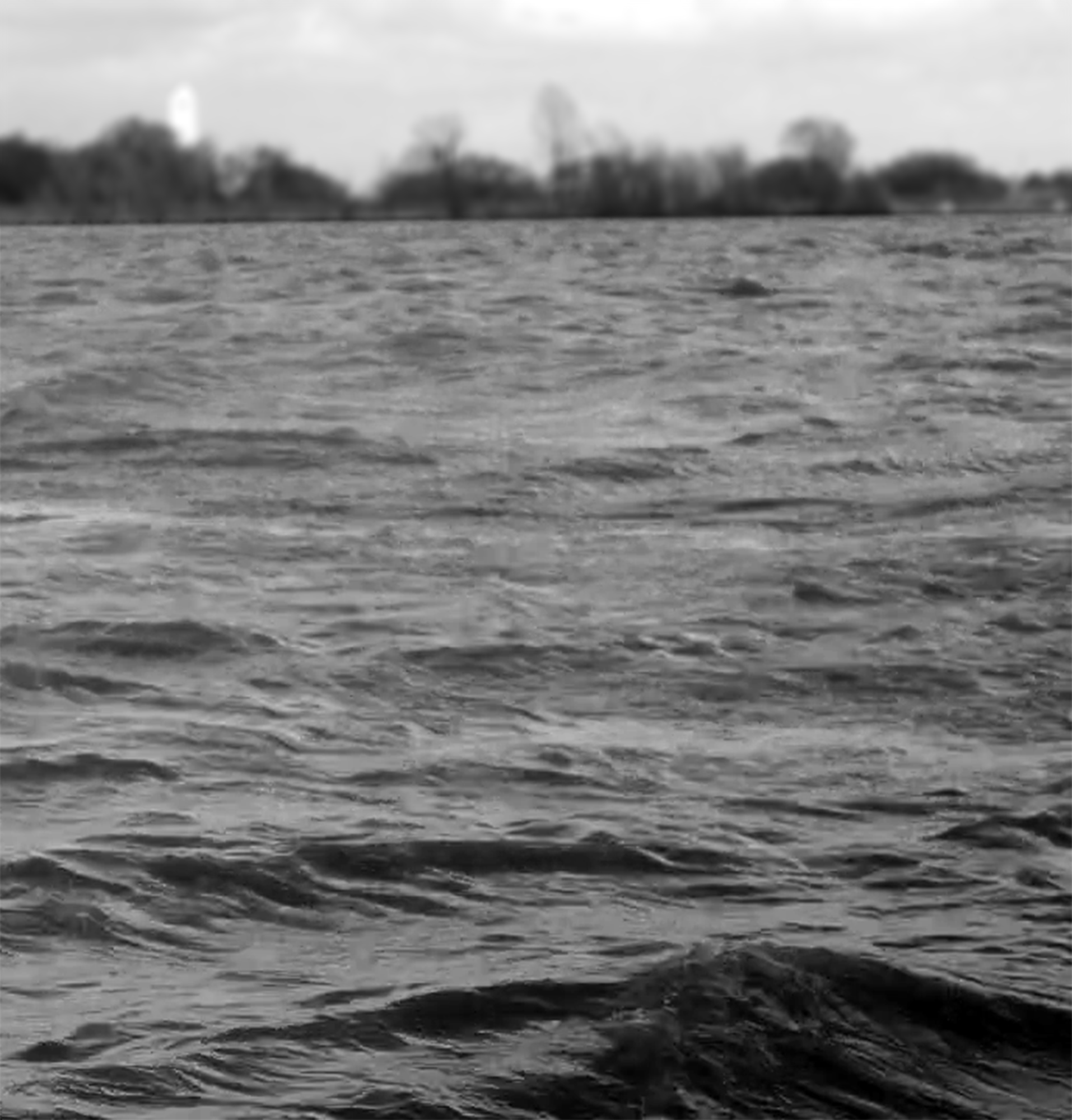 Black and white photo of a wavy lake.