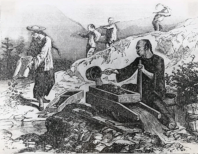 Chinese Gold Miners in California. Pen and ink drawing by Roy Daniel Graves, 1889-1971.