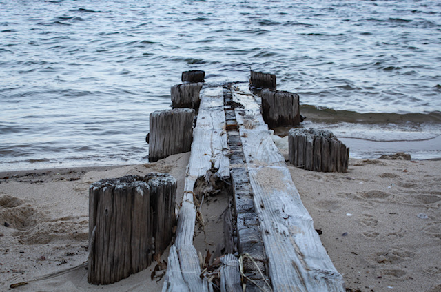 Shelter Island. The ruins of an old dock are mostly submerged in water and sand.
