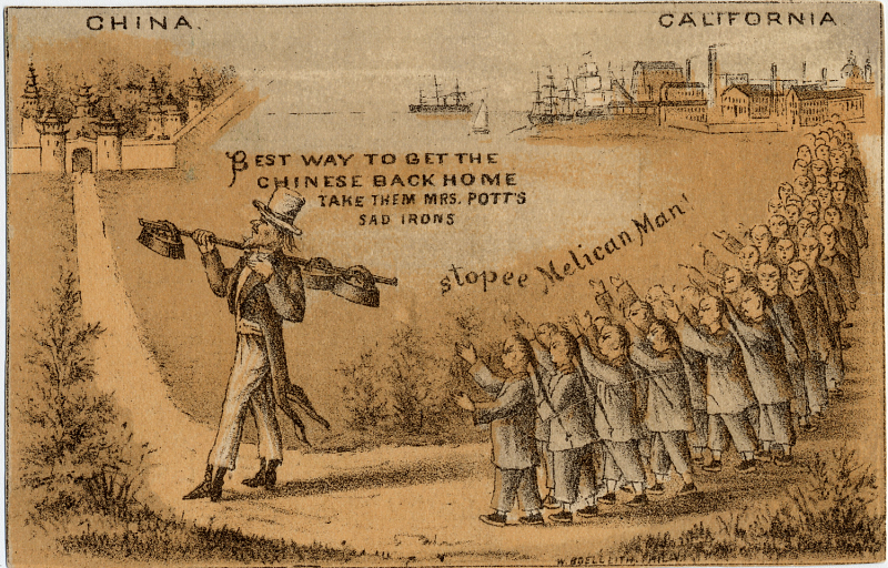 Illustrating the tensions that rose when Chinese people began establishing themselves in the U.S., Uncle Sam is shown here leading them back to China with what was perceived as a suitable inducement. Image circa 1880s.