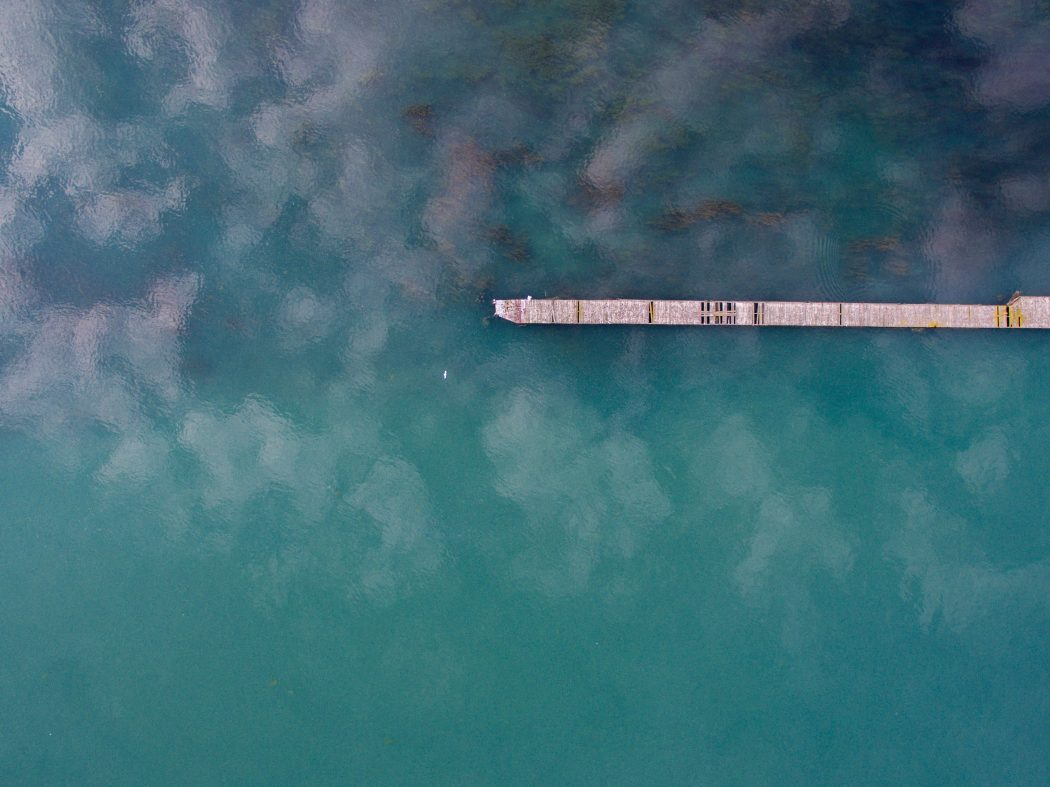 Aerial of dock on water at Belle Isle, Detroit, United States.
