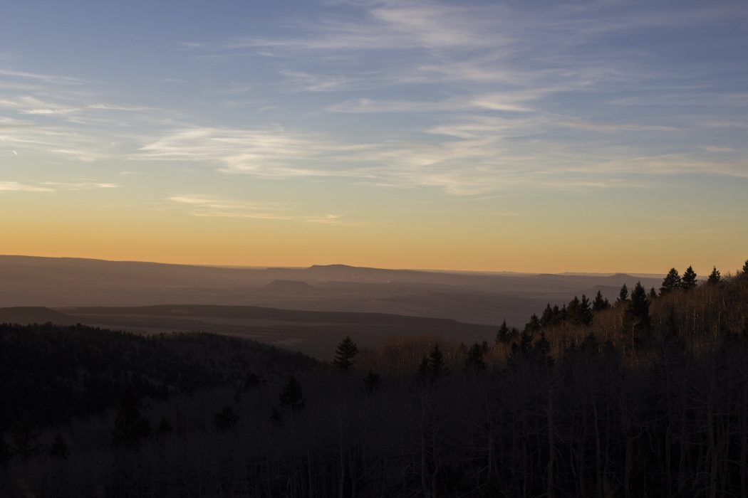 View from atop Tsoodził (Mount Taylor, New Mexico) during filming for 'Ways of Knowing.' Image by Carmille Garcia, courtesy of Bombshelltoe.