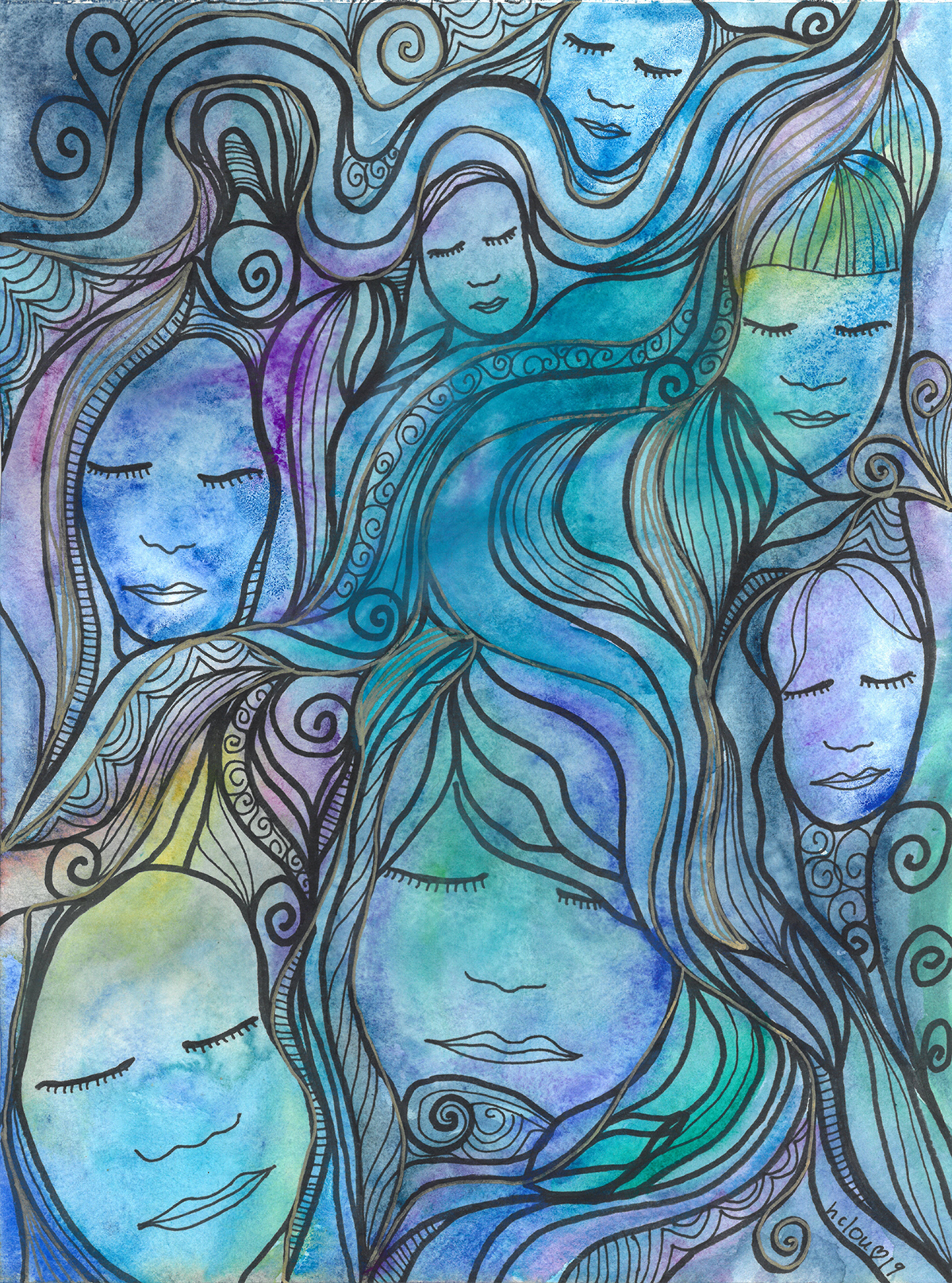 'womxn in water' image courtesy of heather c. lou. Many blue faces appear with their eyes closed.
