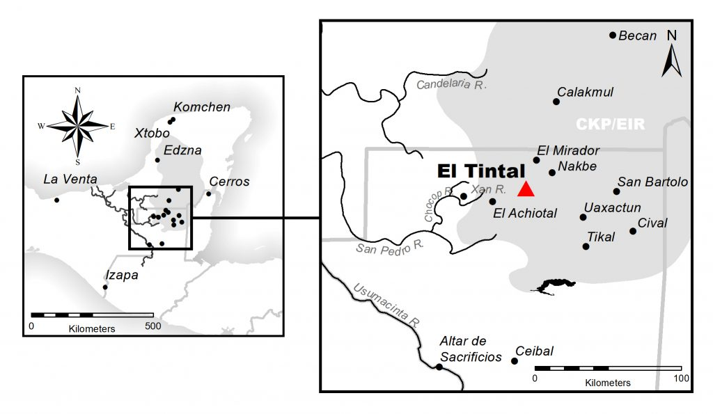 Figure 1. Location of El Tintal in the Maya lowlands of northern Petén, Guatemala. Map by C.R. Chiriboga/PAET.