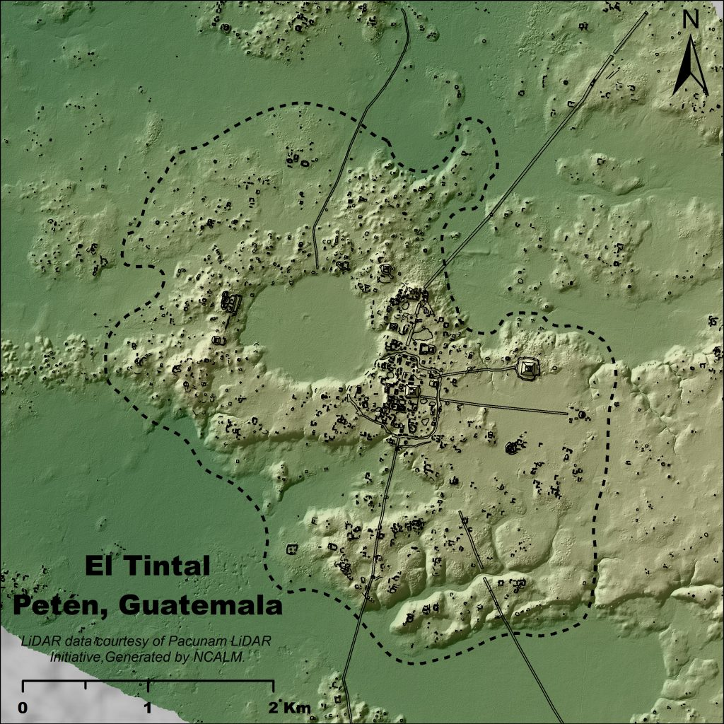 Figure 3. Map of El Tintal delineating 11.6 km2 of settlement. Map by C.R. Chiriboga/PAET.