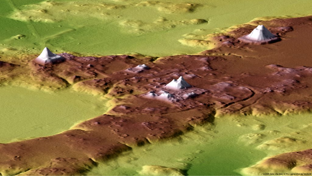 Figure 6. Northeasterly 3D view of El Tintal's central zone. Map by C.R. Chiriboga/PAET.
