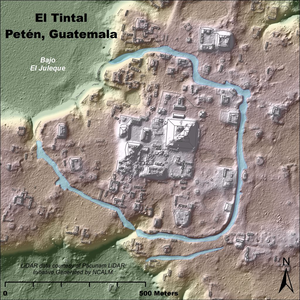 Figure 9. Network of canals surrounding El Tintal's main ritual and administrative settlement. Map by C.R. Chiriboga/PAET.