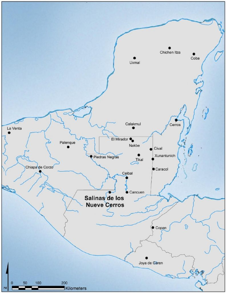 Figure 1. Map of the Maya region with locations of major archaeological sites. Map courtesy of Alexander E. Rivas.