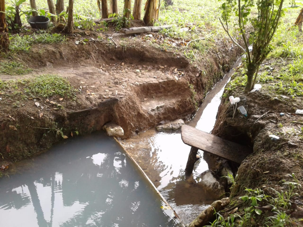 Figure 5. Reuse of ancient depressions or wells with a trench dug connecting the two wells and evidence of a filtration system set up. Image courtesy of William G. B. Odum.