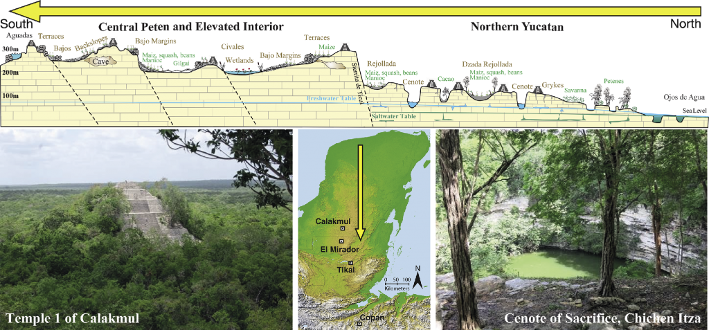 Figure 3. A simplified schematic of the hydrological systems across the Maya Lowlands. Figure from Luzzadder-Beach et al. 2016