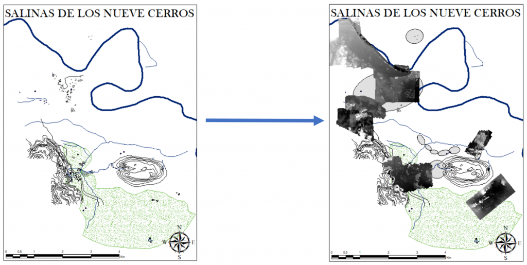 Figure 4. Original map of Nueve Cerros (right) and overlaid drone images (left). Map courtesy of Alexander E. Rivas.