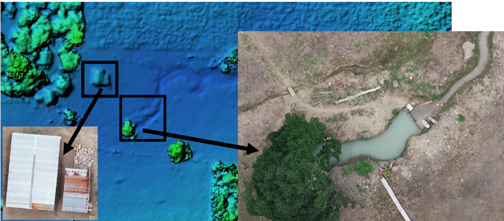Figure 6. DEM and Orthophoto images of modern Q'eqchi' houses and storage areas and evidence of a dammed seasonal stream. Figure courtesy of Alexander Rivas.