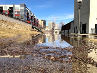 Flooding at the Upper Landing in St. Paul, Minnesota, March 2019. Image courtesy of Joanne Richardson.