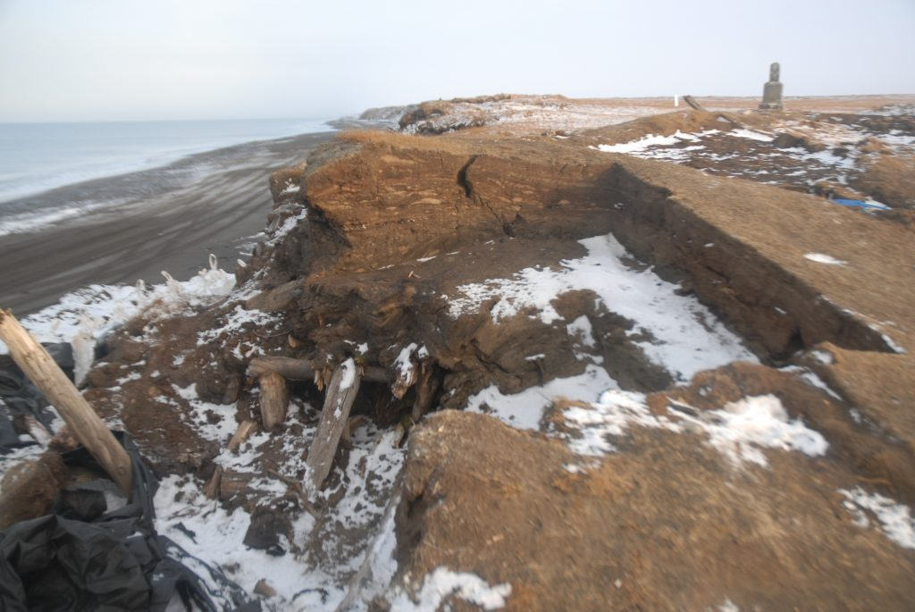 Ancient Walakpa wooden structure slumping into the sea. Image courtesy of the Walakpa Archaeological Salvage Project.