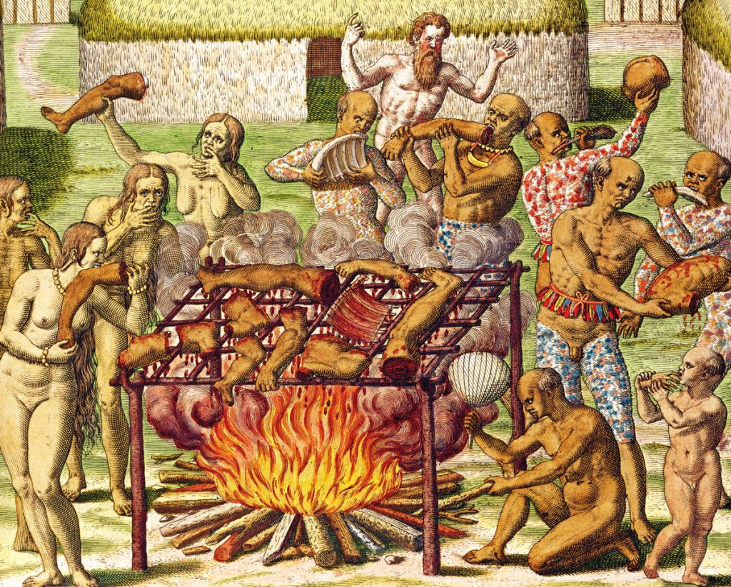 Cannibalism in Brazil as described by Hans Staden (c. 1515–c. 1576). Human body parts roast over an open fire, and many people surrounding the fire consume the body parts.