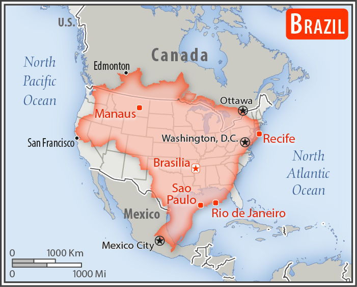 Map of Brazil overlaid on a map of North America, by The World Factbook. The United States and Brazil are very similar in size.