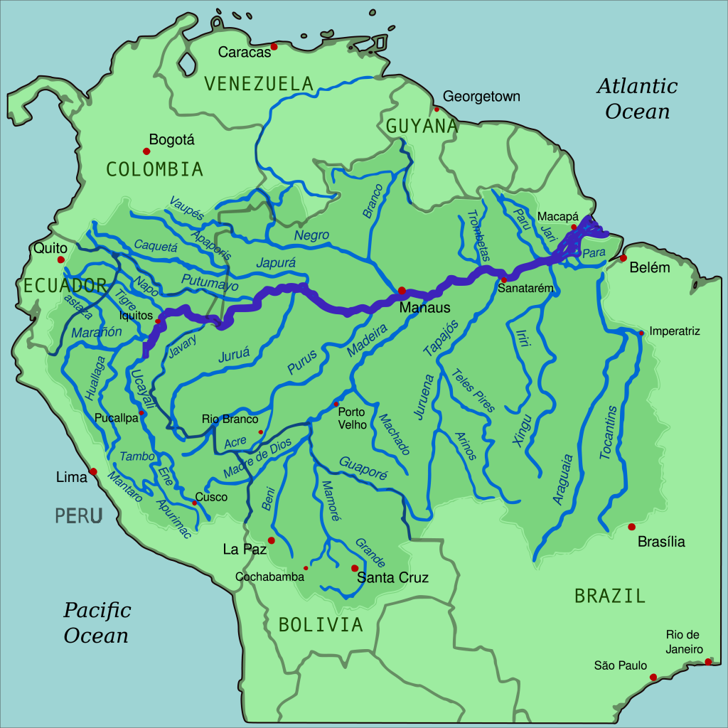Amazon River drainage basin. It is clear how the Amazon drains over a large amount of Brazil.
