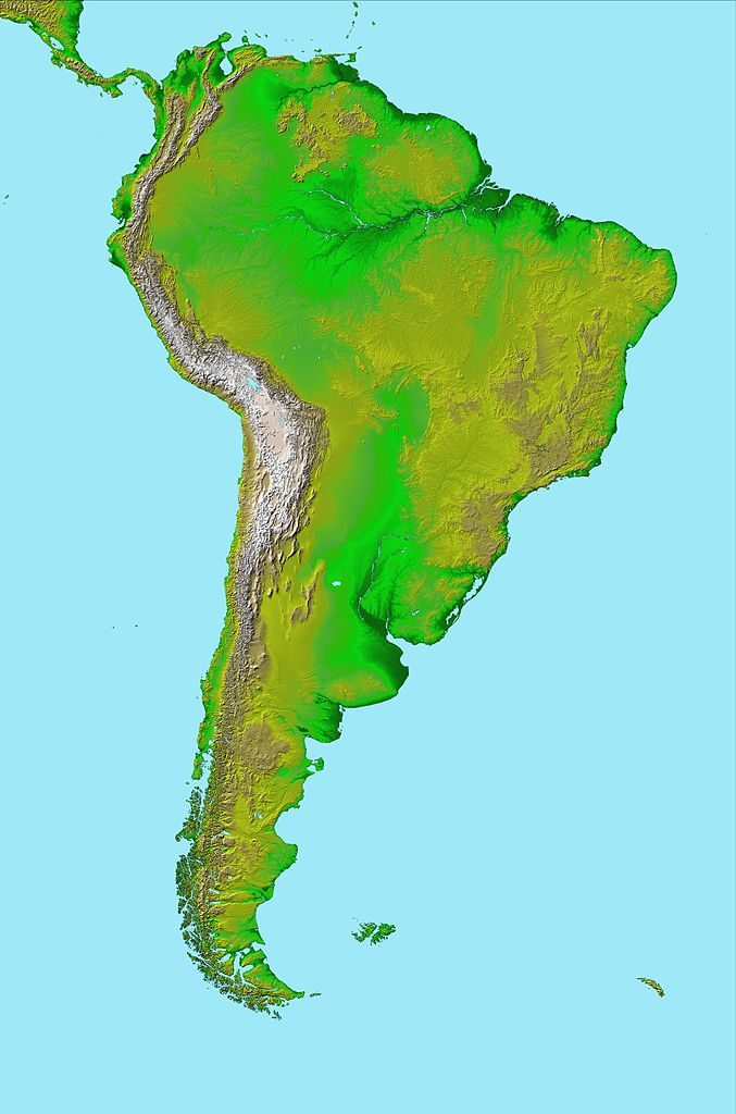 Note the Brazilian highlands on this topographic map of South America.